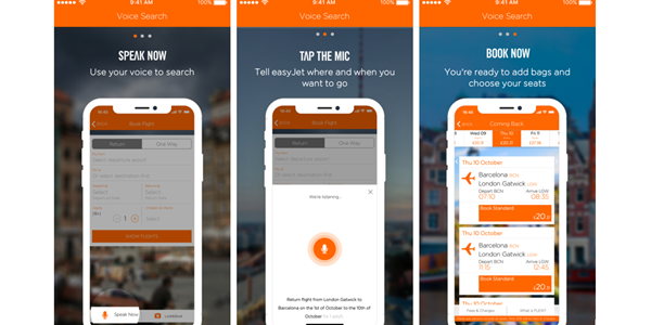 Travelport EasyJet voice search in app