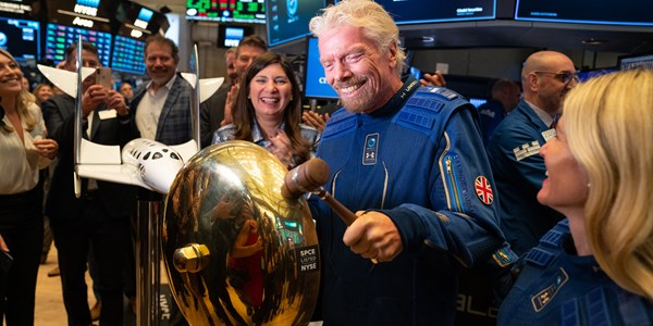 Richard Branson celebrates the first Virgin Galactic trade on the New York Stock Exchange