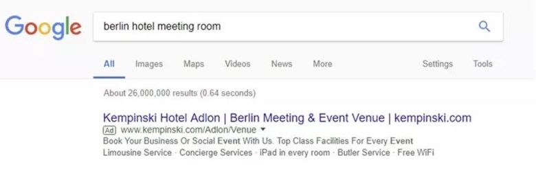 "A generic campaign like this one, a search of ""berlin hotel meeting room"", should be mostly or fully assigned to branding."