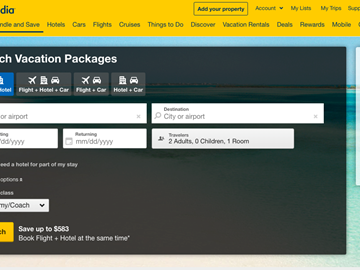 expedia package bookings