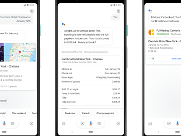 Google Assistant hotel booking flight check-in