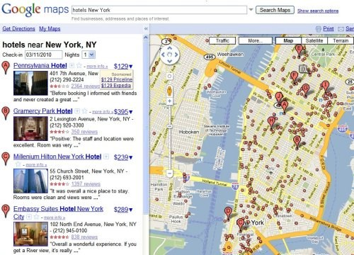Google New York Map.Google Maps Adds Hotel Search And Pricing Panic And Confusion
