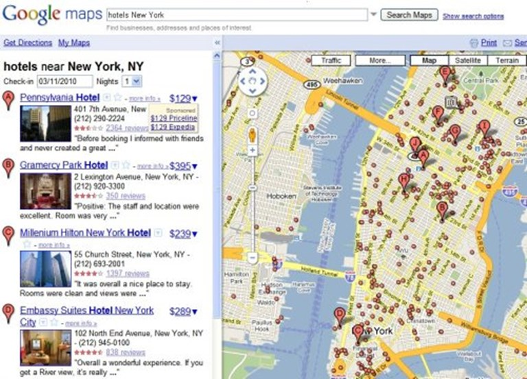 Google Maps with hotel pricing -- Google says what is the