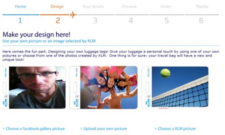 KLM uses Facebook for social media luggage tag promo