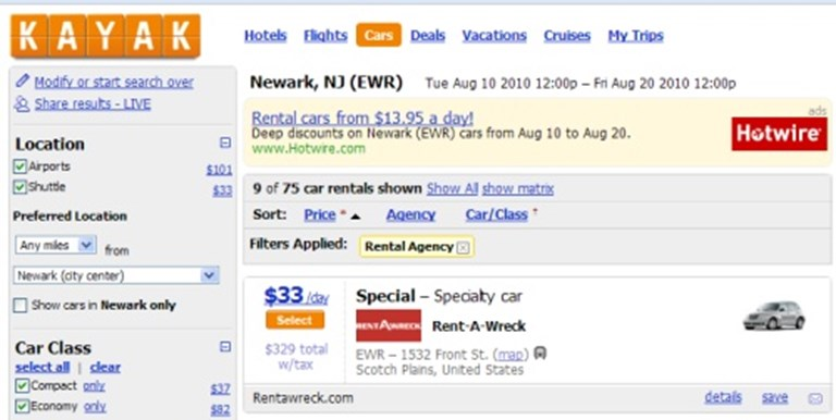 Rent-A-Wreck: Kayak yes, global distribution systems no