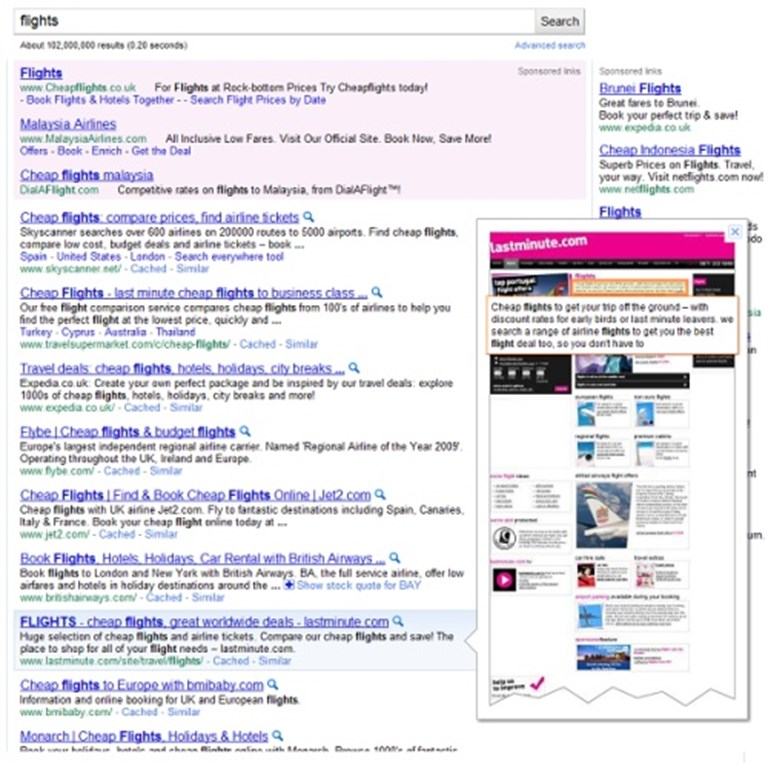 Google tests website preview in search results | PhocusWire
