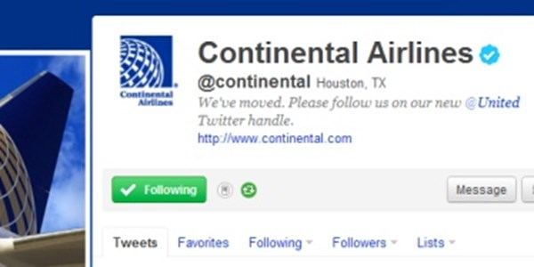 Social media merger -- United and Continental handle