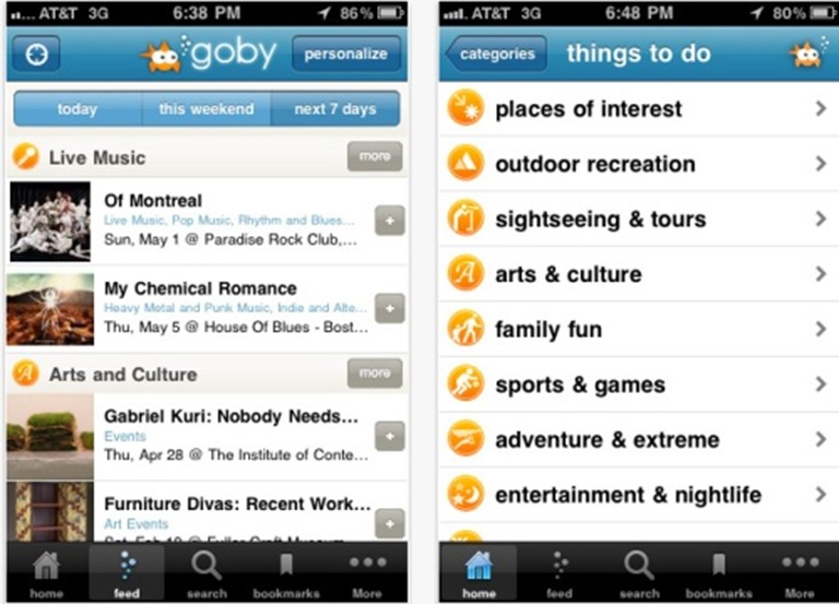 Goby iPhone app becomes your social planner with recommendation feed