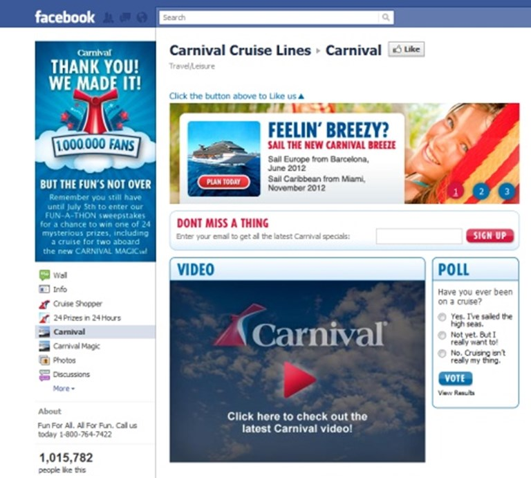 Carnival celebrates one million Facebook fans | PhocusWire