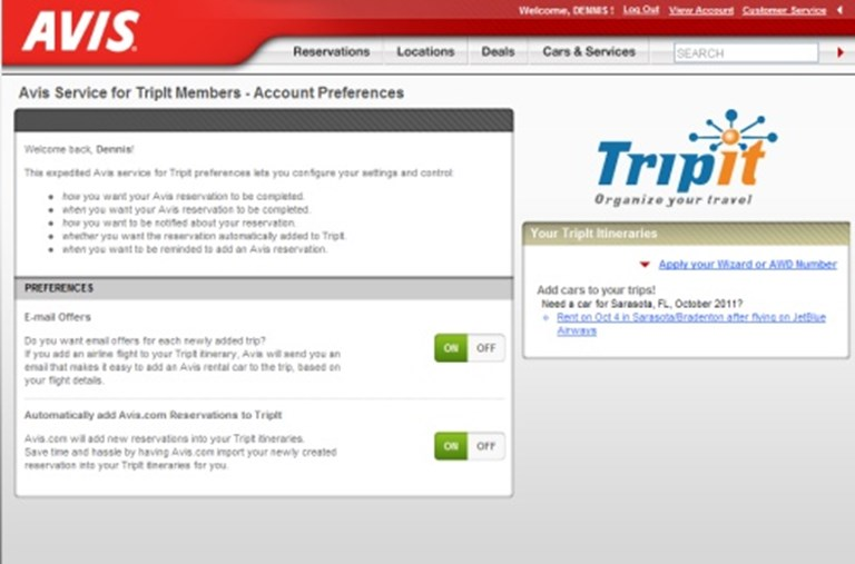 Avis First Car Rental Company To Import Tripit Itineraries