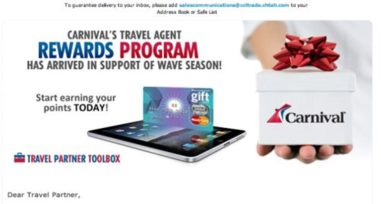 Carnival rewards cruise agents for online bookings and