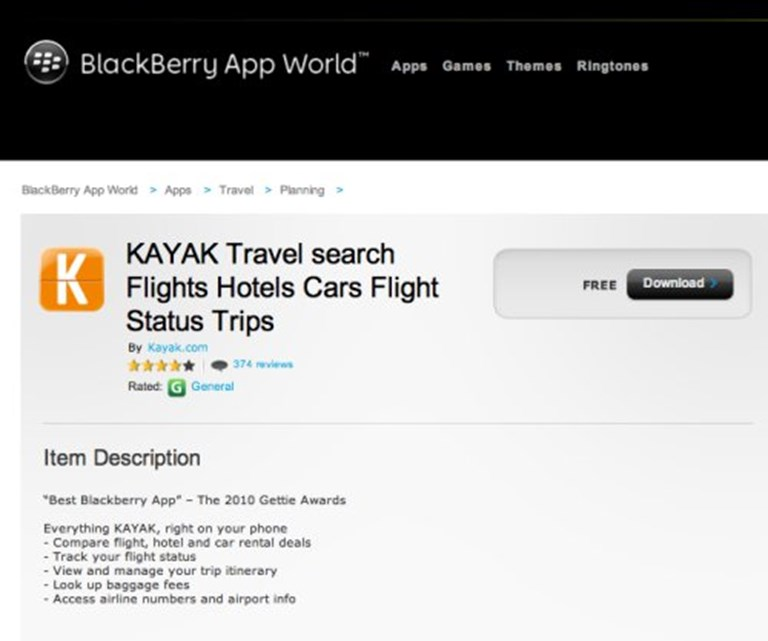 Kayak drops BlackBerry support, holds out hope for Windows Phone