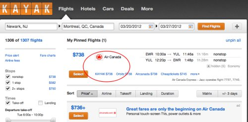 Images of air canada flight bookings