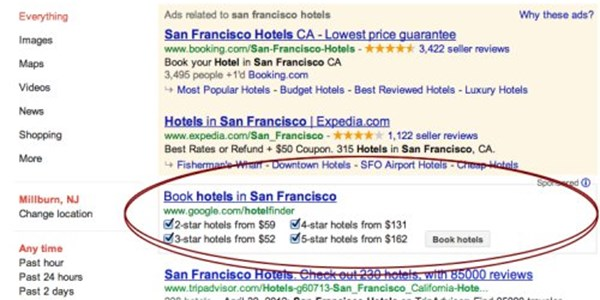 Google Repositions Hotel Finder Atop Organic Search Results