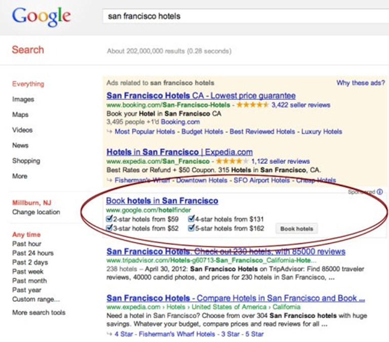 Here S An Image Of The New Look And Positioning Google Hotel Finder On Us Search Results Pages