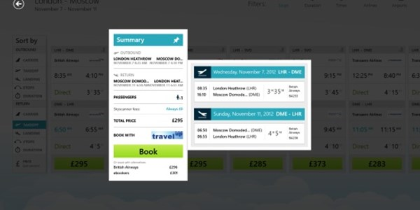 Booking com and Skyscanner check in with first Windows 8