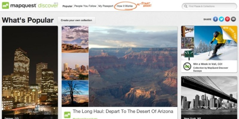 Nyc Map Quest.Mapquest Ramps Up Travel Services With Pinterest Style Discover