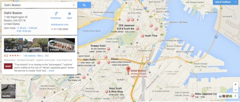 What happens on Google Maps in a Plus/Frommers/Zagat notspot ... on