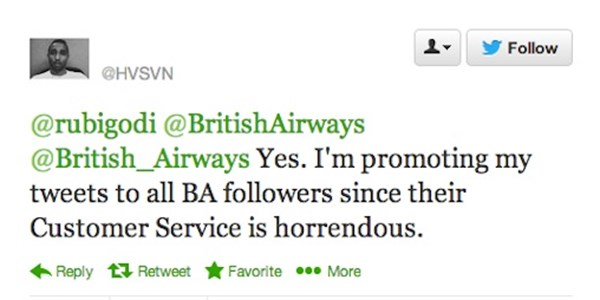 [UPDATED] Extreme social: Passenger buys promoted tweet to poke British Airways about lost luggage