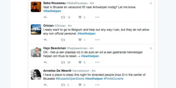 Belgians open their homes, offer rides, with #IkWilHelpen hashtag
