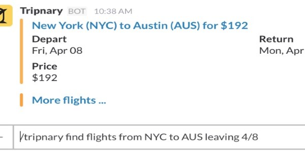 In-app travel search continues, Slack fans can now find flights