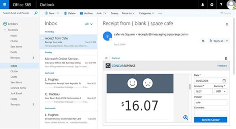 Microsoft Outlook adds Concur's travel booking and expense