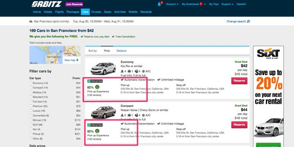 Orbitz and CheapTickets test car rental reviews, other Expedia brands to follow