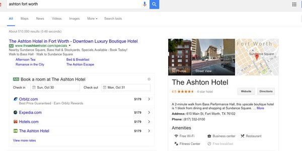 Google tests single hotel deal placements in search