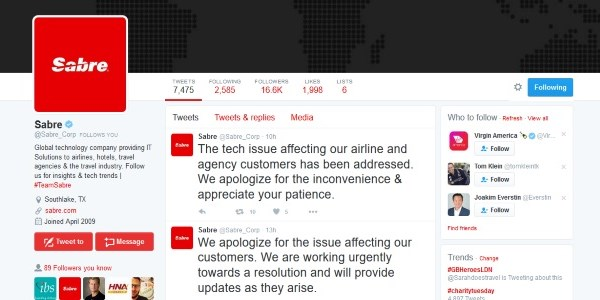A Twitter timeline on Sabre's outage